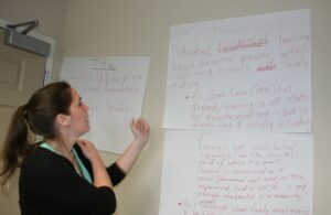 Amanda Edmondson maps out her CURCA presentation.