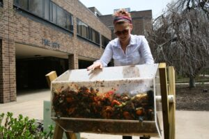 Victoria Widener's art project teaches the campus community about composting.