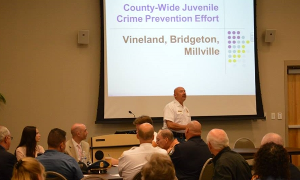 Vineland Police Chief Timothy Codispoti discusses the expansion with Cumberland County leaders.