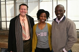 Rutgers-Camden professors Benedetto Piccoli (left) and Simeon Kotchoni (right) pose with student Lyla Jno Baptiste in Rutgers-Camden's greenhouse.
