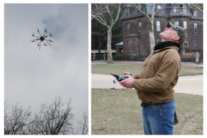 Scott Davis (right) tests his octocopter, which is capable of photographing bird flight formations.