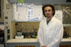 Sean Taylor is one of two Rutgers-Camden students to find a new family of functional materials for the production of clean hydrogen fuel through photocatalysis.