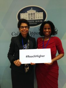 Rutgers University–Camden Chancellor Phoebe A. Haddon (left) and Nyeema Watson, acting associate chancellor for civic engagement, at the White House College Opportunity Day of Action.