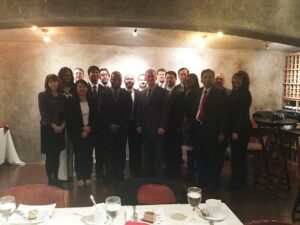 Rutgers School of Business-Camden alumnus James McCarthy (center) spoke with MBA and PMBA students as part of the executive lunch series.
