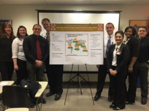 Students present a research poster at the United Nations.