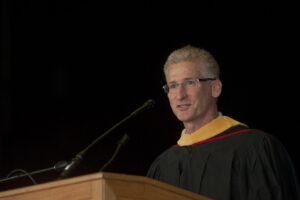 James McCarthy, addressing graduates at the Rutgers School of Business-Camden commencement in 2014.