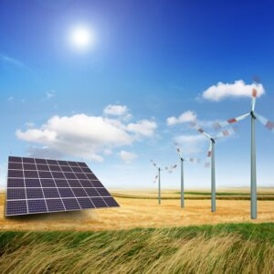 Wind turbines and solar panels generate electricity.