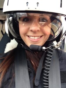 Briana Entrikin in one of Cooper University Hospital's helicopters.