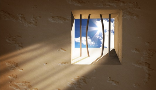 Prison window. Freedom concept