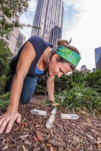 Rutgers-Camden biology professor Amy Savage examines ant populations in New York City. Photo by Lauren Nichols.