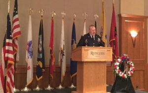 Brigadier Gen. Wilbur E. Wolf II delivers the keynote speech at Rutgers-Camden's annual Veterans Day observance.