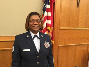 Daphne Hilton was awarded the award for Outstanding Female Student Veteran for 2015.