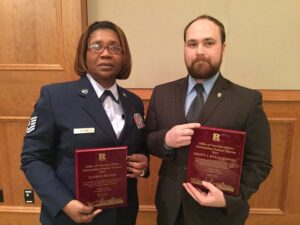 Daphne Hilton (left) and Shawn Rykaczewski were named Rutgers–Camden's Outstanding Male and Female Student Veterans for 2015.