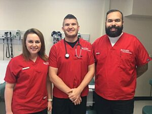 Student veterans (left to right) Jennifer Wain, Robert Collins, and Bobbie Poller use their leadership skills as nursing majors.