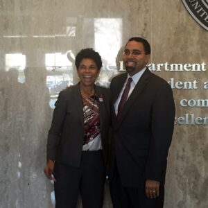 Rutgers–Camden Chancellor Phoebe Haddon (left) with U.S. Secretary of Education John B. King Jr.
