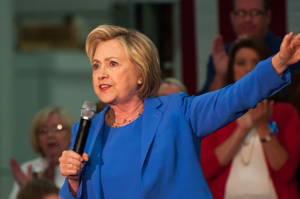 Louisville, Kentucky – May 15, 2016: Secretary of State Hillary Clinton campaigns to a crowd at a rally in Louisville, Kentucky.