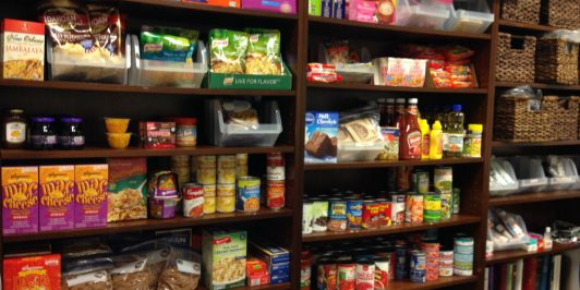 The food pantry is stocked with staples such as mac and cheese and canned meats and tuna.