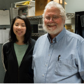 Student Anna Liang with Professor Joe Martin