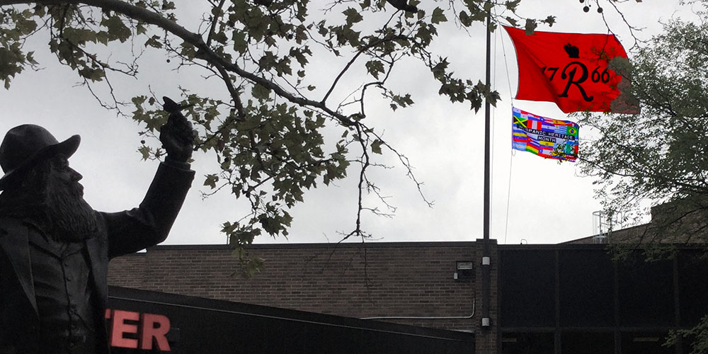 Hispanic Heritage Month flag at Rutgers University–Camden