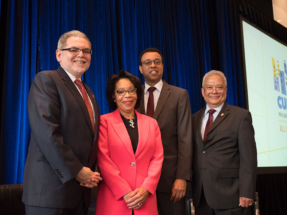 Provost Michael Palis, Wendell Pritchett, and Temple Provost JoAnne Epps with Pedro Ramos at the 2019 Annual Conference