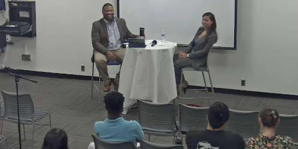 Oscar Holmes interviewing Rutgers Law Professor Stacy Hawkins