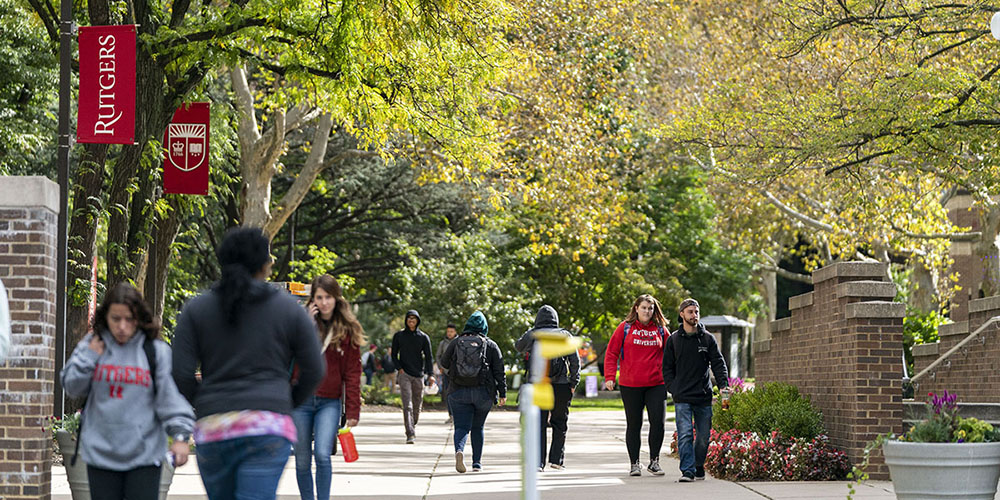 Students walking on the Rutgers University-Camden campus