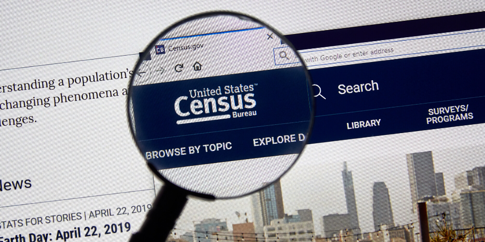 A closeup view of the U.S. Census Bureau logo on census.gov