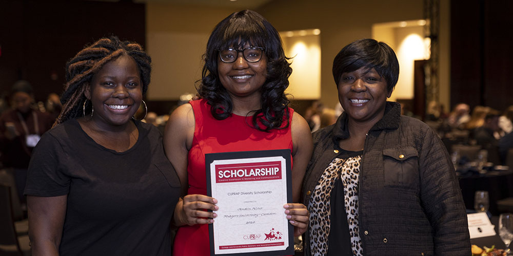 Andin Ncho with her College and University Public Relations and Associated Professionals (CUPRAP) Diversity Scholarship award
