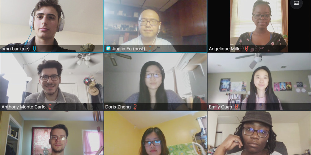 Professor Jinglin Fu meets with students on WebEx students to discuss their research
