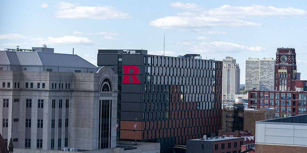 Camden skyline view with Rutgers 330 Cooper housing