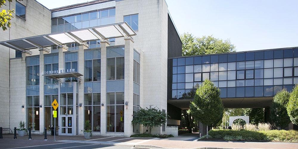 Exterior view of Rutgers Law School building in Camden, NJ