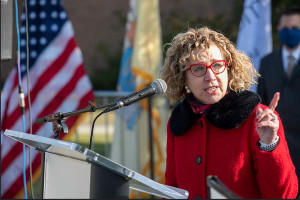 Donna Nickitas, Dean of Rutgers School of Nursing–Camden speaking at the opening of the vaccination center