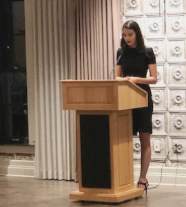 Jenise Rivera speaking at the annual Alianza banquet