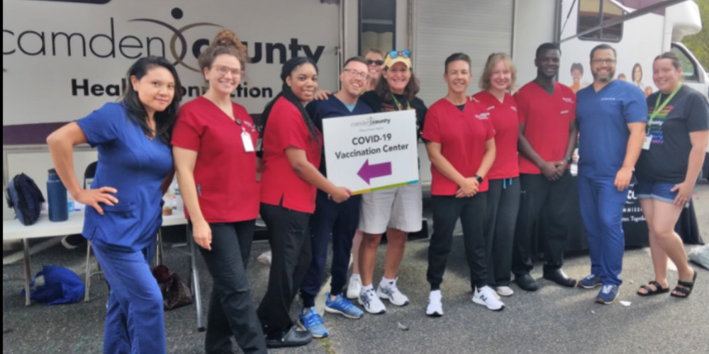 Kevin Emmons (second from right) and team members at a vaccination event in Collingswood.