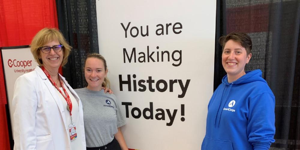 Instructor Rebecca Bryan with students Christina Neal and Anastasia Dudzinski at Kroc Center vaccination center